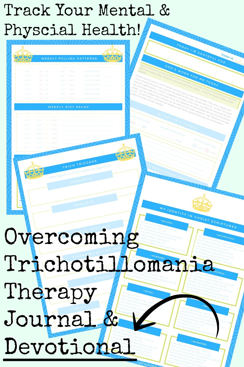 This journal is one of the most awesome trichotillomania products because it helps you before, during and after treatment by working on so many different areas simutaneously. It's an incredible workbook which also comes in a printable PDF file if you don't want to wait for Amazon to ship it to you. I used a journal like this to stop hair pulling.