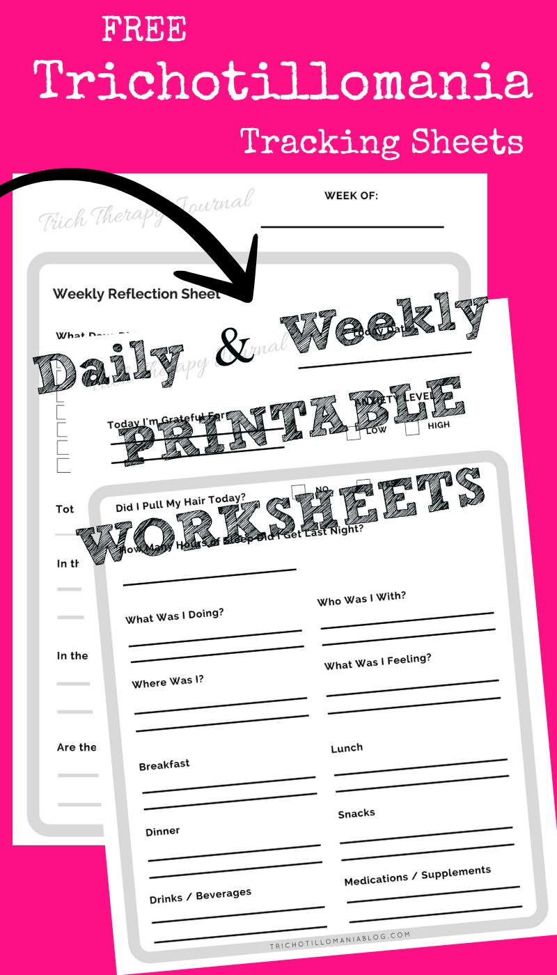Free printable trichotillomania worksheets to help stop hair pulling. I used similar tracking methods to stop my own hair pulling disorder. These are free worksheets to print and place in a binder for yourself.Can be used with treatment or therapy.