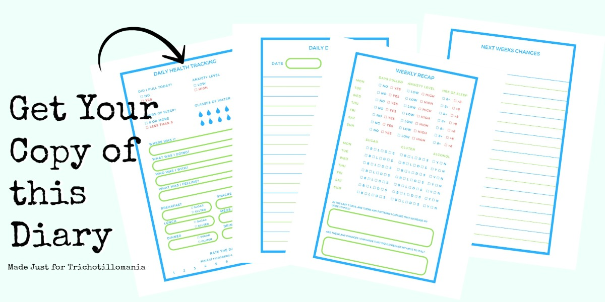 A health tracking diary for people with trichotillomania. This is one of those trichotillomania products that can actually make your treatment go better. If you are seeing a therapist or doctor, one of these hair pulling disorder workbooks can help you.