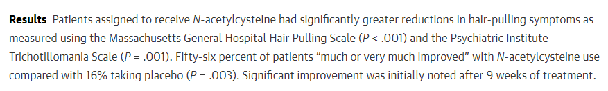 This is one of the supplements for trichotillomania that has been talked about the most. There are pubmed studies showing that it has considerably taken away the hair pulling urges many individuals. I can can tell you from personal experience just how well this treatment worked.