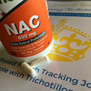 NAC and Trichotillomania Reviews are hard to come by, at least I haven't found one that is as easy to read as this one. This one gives the dosage, side effects and vitamins to pair with it.