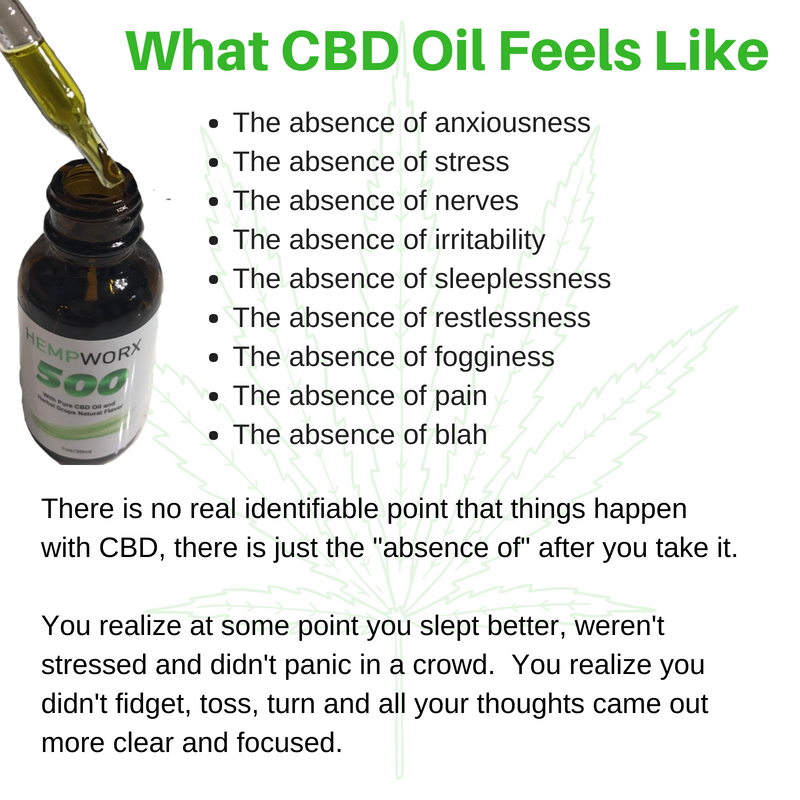 What Does CBD Oil Feel Like After You Take It? Legit Question. I struggle with hair pulling anxiety and this has been so helpful for me. Trichotillomania is no joke and if anxiety is a trigger, this cannabidoil has been so helpful.